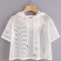 Drop Shoulder Crop Fishnet Hooded T-shirt WHITE