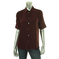 Marc Jacobs Womens Silk Collared Button-Down Top