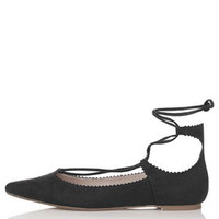 FINEST Ghillie Lace Up Flats - Black