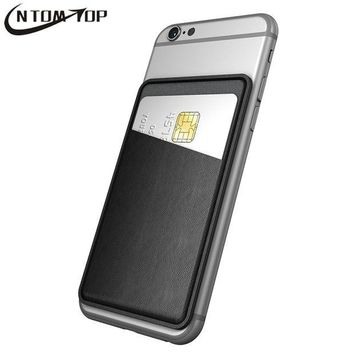 DCCKHY9 Ultra Thin Leather Self Adhesive Credit Card Holder Sticker Wallet Pouch Case Sleeve Universal for iPhone Samsung LG Smartphone
