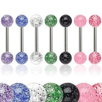 Body Accentz™ 6 Ultra Sparkle Acrylic Tongue Ring 14g - In Assorted Colors