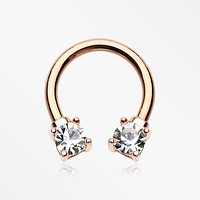 Rose Gold Classic Gem Sparkle Prong Horseshoe Circular Barbell