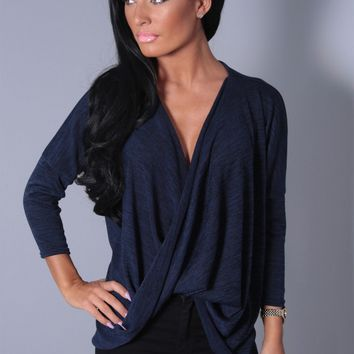 Katarin Navy Jersey Twist Front Top | Pink Boutique