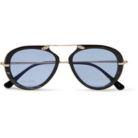 Tom Ford - Aviator-Style Horn and Gold-Tone Sunglasses