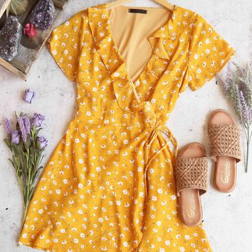 sunset in venice floral wrap dress - mustard