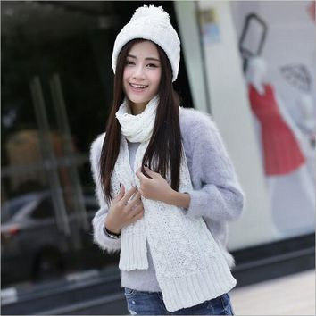 Knitted Winter Hats for Women's Hat Scarf Set Two Piece Sets New Fashion Cap Gorros Bonnet Acrylic Beanie Black SC5512+30