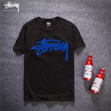 Trendsetter Stussy Trending Women Men Fashion Casual Shirt Top Tee Black+Blue G
