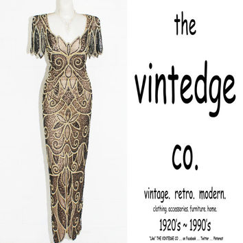 vintage // nude illusion gatsby deco goddess bead sequin wedding dress party gown XS S