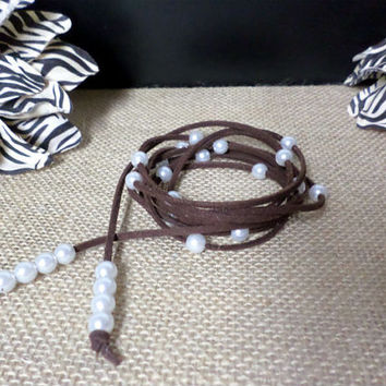 6 Wrap Boho Dark Brown Suede Leather White Pearl Multi Wrap Bracelet, Lariat Choker Necklace, Anklet - Pick COLOR / LENGTH Usa Seller, gift