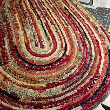 Large Oval Floor Rug, Handmade Made to Order, Coiled Fabric Gypsy Boho Bohemian Upcycled