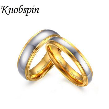 High quality US Size 6-11 Couple Ring Tungsten Carbide Wedding Ring 6mm/4mm width Gold color anillos women men jewelry