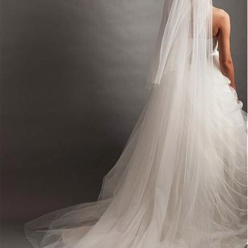 [43.79] In Stock Ivory Tulle Two-tier Veil For Your Glamorous Wedding Dress - dressilyme.com