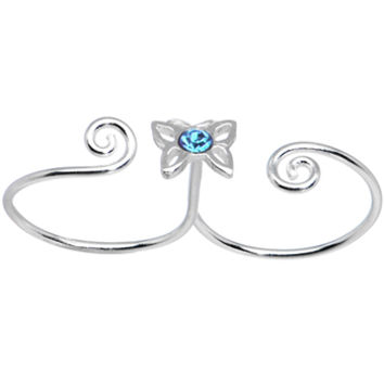 Sterling Silver 925 Aqua CZ Butterfly Double Toe Ring | Body Candy Body Jewelry