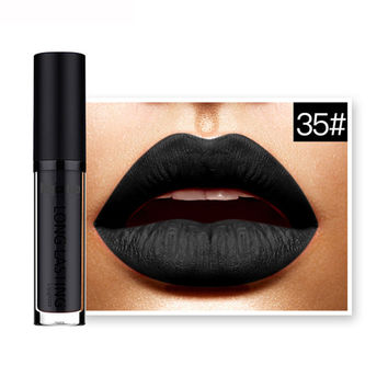 Magical Halo 2017 Cosmetics Waterproof Matte Lip Moisturizer Liquid Lipstick Long Lasting Lip Gloss Lipstick Maquiagem Black 35#