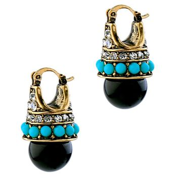 Vintage Round Black Palace Crystal Stud Earrings For Women