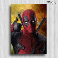 Deadpool print marvel watercolor superhero poster
