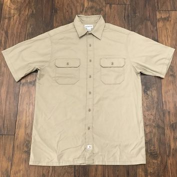 Carhartt Carhartt Khaki 2 Pocket Button Up Uniform Work Shirt Mens Workwear Size L Large Size L $30