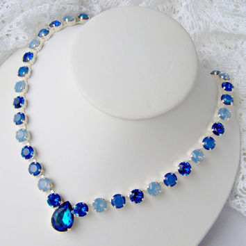 Swarovski crystal rhinestone necklace / Bermuda Blue / Statement necklace / Bridal / Tennis necklace
