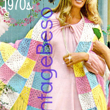 Big Shawl CROCHET Pattern • PdF Pattern • Feminine Squares Shawl • Boho Lovely • Vintage 1970s • Great for Ladies on a Cool Summer Evenings