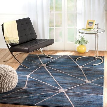 2097 Blue Abstract Thick Pile Contemporary Area Rugs