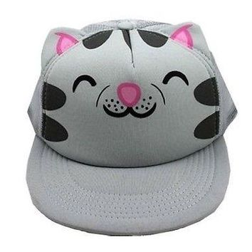 The Big Bang Theory Soft Kitty With Ears Snap Back Trucker Hat Grey Adjustable