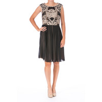Sue Wong Womens Chiffon Embroidered Detail Cocktail Dress