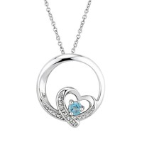 Two Hearts Forever One Genuine Blue Topaz & Diamond Accent Sterling Silver Circle Heart Pendant Necklace