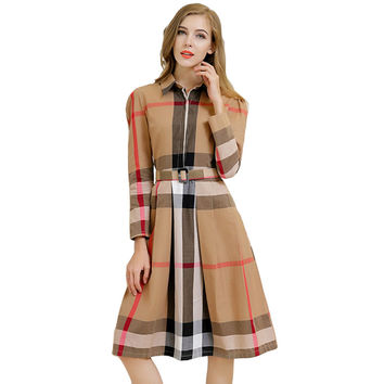 American Plaid Long Dress
