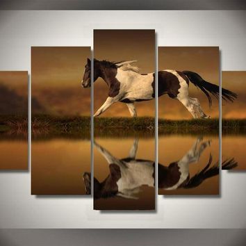 Pinto Horse 5-Piece Wall Art Canvas