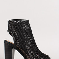 Bamboo Abbatha-01 Fishnet Cut Out Peep Toe Ankle Bootie