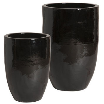 Set of Two Tall Round Planters in Black design by Emissary