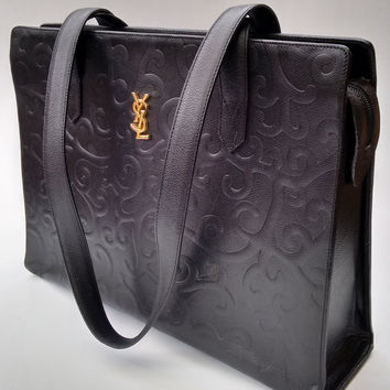 YSL Yves Saint Laurent Vintage Arabesque Black Leather Shoulder Bag .  French designer tote bag. 6e3d8cc3cc8f9