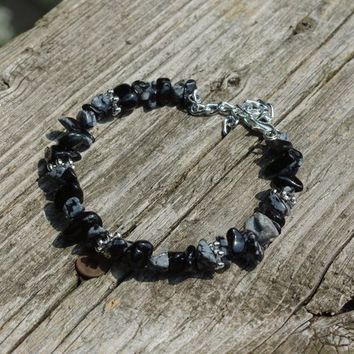 Snowflake Obsidian Bracelet ~ Black  and White Chip Stones ~ Healing Crystals ~ Birthday Gift ~ Back to School Gift ~ Teacher Gift