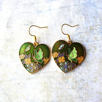 Butterfly Earrings - Heart Earrings - Green Cloisonne Earrings - Cloisonne Charms