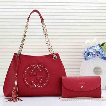 GUCCI Women Fashion Leather Handbag Tote Crossbody Clutch Bag Satchel Set Two Piece