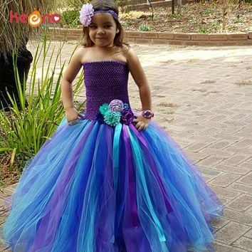 Keenomommy Peacock Full Length Flower Tutu Dress Girls Baby Dress with Headband Photo Prop Halloween Wedding Costume TS123