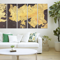 Game of thrones map canvas print, game of thrones wall art framed 5 panels for office large decor  qn86