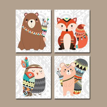 TRIBAL Nursery Wall Art, TRIBAL Animals Decor, CANVAS or Prints, Woodland Forest Animals Decor, Gender Neutral, Fox Bear Owl Set of 4