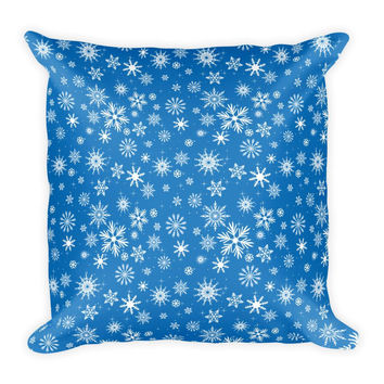 Blue Snowflake Pattern Pillow