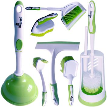 Cleaning Brush Set by Houzem™ Scrub Floor Brush, Toilet Plunger, Window Squeegee & Broom With Dustpan - Ideal For Household & Office Use - Durable Plastic