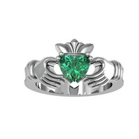 Sterling Silver Emerald CZ Claddagh Love and Friendship Promise Ring