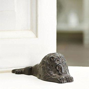 Cast Iron Laying Lion Doorstop Antique Bronze Indoor/Outdoor Door Stopper