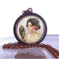 Glass  Pendant Necklace,Gibson Girl necklace, Christmas Gift Ideas,Stocking Stuffers