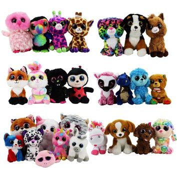 Ty Beanie Boos Big Eyes Plush Cat Dog Owl Penguin Rabbit Bear Leopard Plush Toy Doll Stuffed Animals Birthday Gifts For Baby