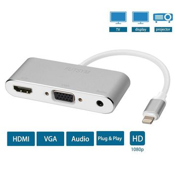 iPhone iPad to HDMI VGA Adapter, FUTSYM Lightning to HDMI Adapter Converter Cable for iPad Pro Mini Lightning Digital AV Adapter to VGA for iPhone 8 7 6 TV Connector Projector, Support the latest iOS
