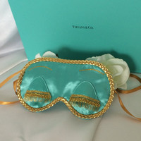 Satin Holly Golightly - Breakfast at Tiffanys Audrey hepburn inspired sleep mask by Handmade by Green Tea