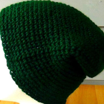 Crocheted Hat - Green Slouchy Hat - Forest Green Fisherman Hat