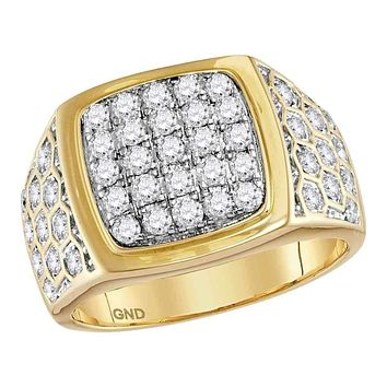 14kt Yellow Gold Men's Round Diamond Square Cluster Honeycomb Ring 1-3/4 Cttw - FREE Shipping (US/CAN)