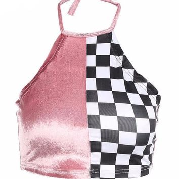Velvet Checkerboard Halter Crop Top