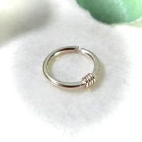 Gold Nose Ring with Gold Hammered & Wrapped